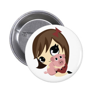 Penny and Snickerdoodle - Brown Hair 2 Inch Round Button