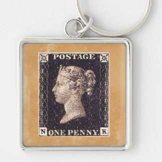 Penny Black Postage Stamp Keychains