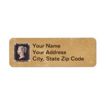 Penny Black Postage Stamp Label