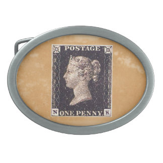 Penny Black Postage Stamp Oval Belt Buckle