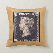 Penny Black Postage Stamp Throw Pillow