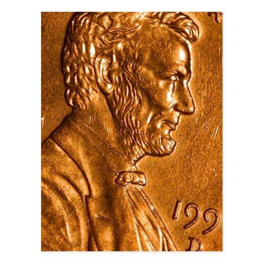 Penny Cents Copper Lincoln Postcard