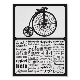 Penny Farthing - Bicycle in Different Languages Poster