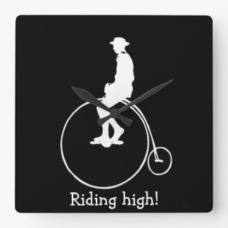 Penny farthing bicycle silhouette square wall clocks