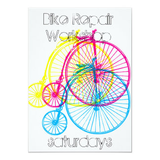 Penny Farthing bike themed invitation or card