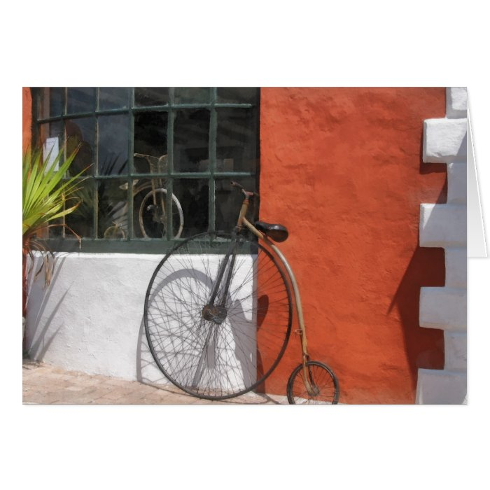 Penny-Farthing in Front of Bike Shop Card
