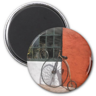 Penny-Farthing in Front of Bike Shop 2 Inch Round Magnet