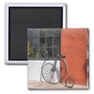 Penny-Farthing in Front of Bike Shop 2 Inch Square Magnet