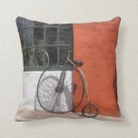 Penny-Farthing in Front of Bike Shop Pillow