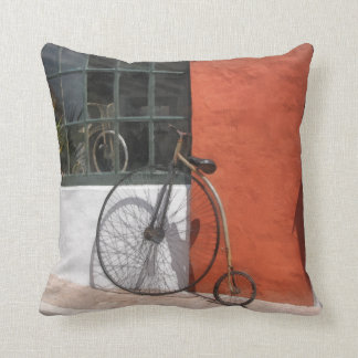 Penny-Farthing in Front of Bike Shop Throw Pillow