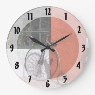 Penny-Farthing in Front of Bike Shop Wall Clock