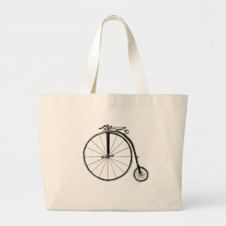 Penny Farthing Vintage Bicycle Illustration Jumbo Tote Bag