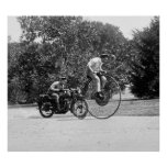 Penny Farthing vs. Motorcycle, 1920s Poster