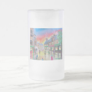 Penny Farthing wet street scene painting Frosted Glass Beer Mug