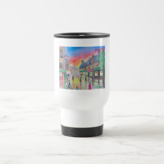 Penny Farthing wet street scene painting Coffee Mugs