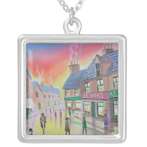 Penny Farthing wet street scene painting Square Pendant Necklace