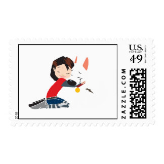Penny Hugging BOLT Disney Postage