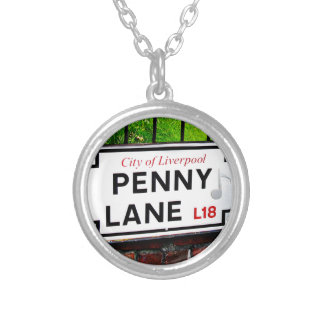 Penny Lane sign from the city of Liverpool England Round Pendant Necklace