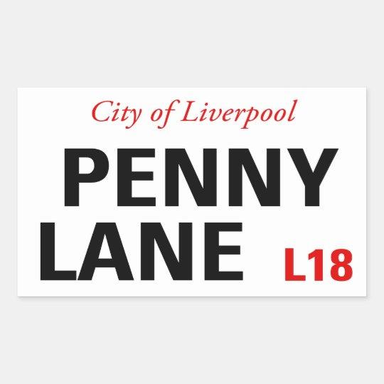 Penny Lane Sign (pack of 4) Rectangular Sticker