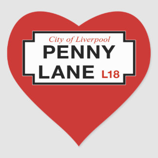 Penny Lane, Street Sign, Liverpool, UK Heart Sticker