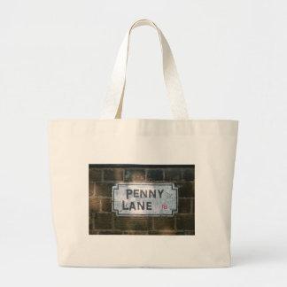 Penny Lane Street Sign, Liverpool UK Large Tote Bag