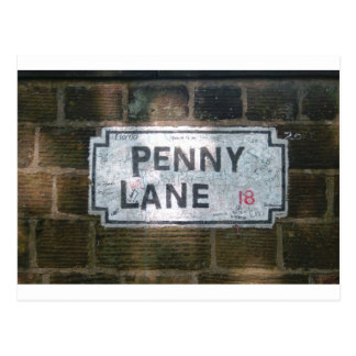Penny Lane Street Sign, Liverpool UK Postcard