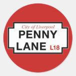 Penny Lane, Street Sign, Liverpool, UK Classic Round Sticker