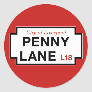 Penny Lane, Street Sign, Liverpool, UK Classic Round Sticker