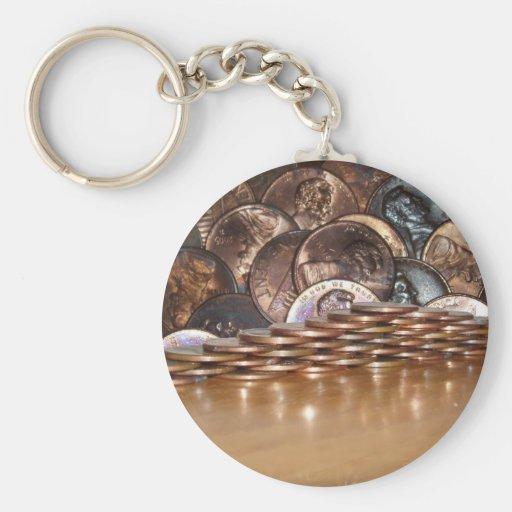 Penny Pyramid Basic Round Button Keychain