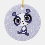 Penny the Sweet Panda Double-Sided Ceramic Round Christmas Ornament