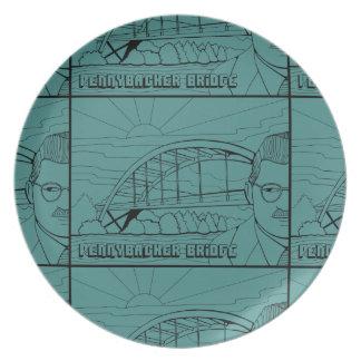 Pennybacker Bridge Line Art Design Melamine Plate