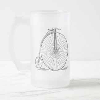Pennyfarthing Frosted Glass Beer Mug