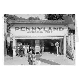 Pennyland Arcade, 1928 Card