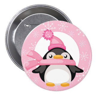 Penquin and Snowflakes Button