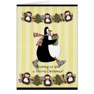 Penquin Christmas greeting card