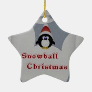 Penquin snowball ceramic ornament