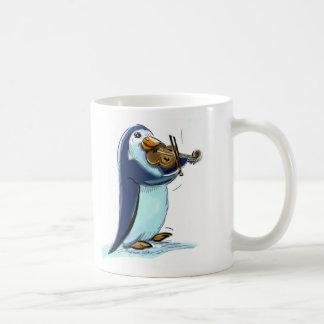 penquin violin player coffee mug