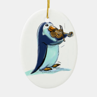penquin violin player Double-Sided oval ceramic christmas ornament