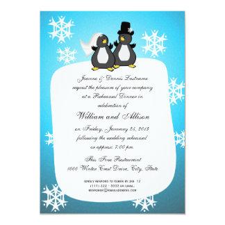 Penquin Wedding Rehearsal Dinner 5x7 Paper Invitation Card
