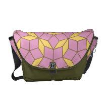 Penrose tiling pattern, rose amber messenger bag