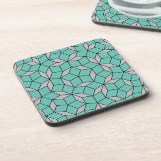 Penrose tiling pattern rounded, gray turquoise drink coasters