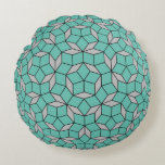 Penrose tiling pattern rounded, gray turquoise round pillow