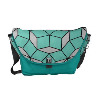 Penrose tiling pattern rounded, gray turquoise messenger bag