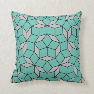 Penrose tiling pattern rounded, gray turquoise throw pillow