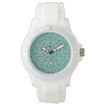 Penrose tiling pattern rounded, gray turquoise wrist watch