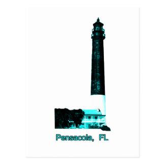 Pensacola FL Lighthouse Cyan The MUSEUM Zazzle Gif Postcard