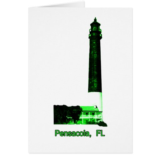 Pensacola FL Lighthouse Green The MUSEUM Zazzle Gi Greeting Card