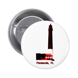 Pensacola FL Lighthouse Red The MUSEUM Zazzle Gift Pin