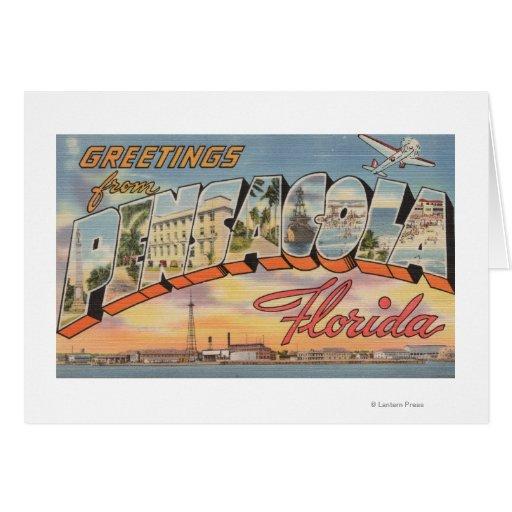Pensacola, Florida - Large Letter Scenes 2 Greeting Cards