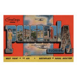 Pensacola, Florida - Large Letter Scenes 2 Print